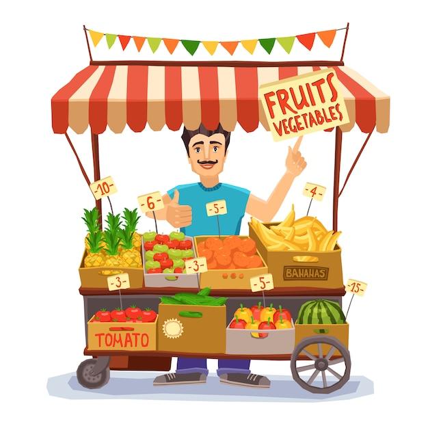 Ilustração de vendedor de rua Vetor grátis