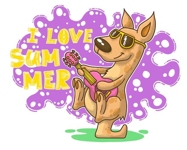 Ilustração de verão com canguru Vetor Premium