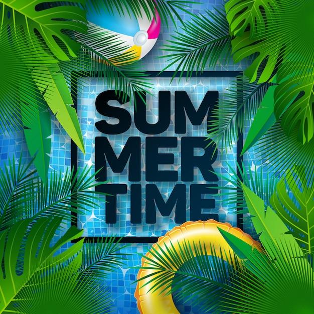 Ilustração de verão com flutuador e folhas de palmeira tropical Vetor Premium