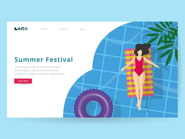 Ilustração de verão para a página de destino Vetor Premium