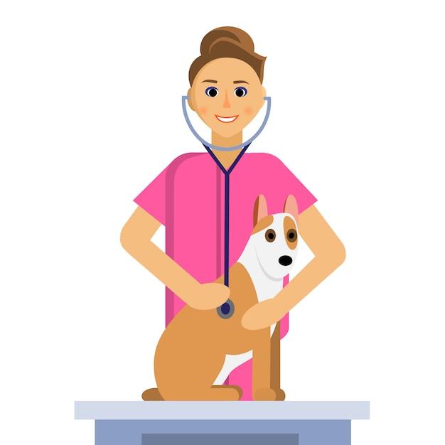 Ilustração de veterinário feminino fazendo um exame de cachorro fofo na mesa médica Vetor Premium