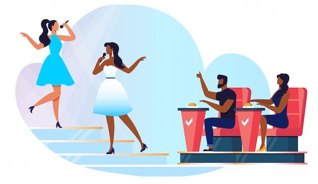 Ilustração de vetor de competição de canto amador Vetor Premium