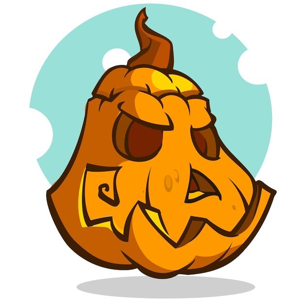 ilustração de vetor de desenhos animados de uma abóbora assustador