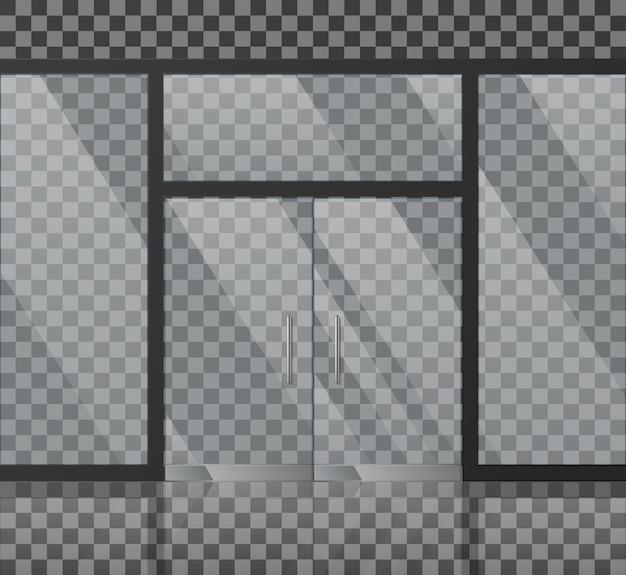 Ilustração de vetor de fachada de loja de vidro Vetor Premium