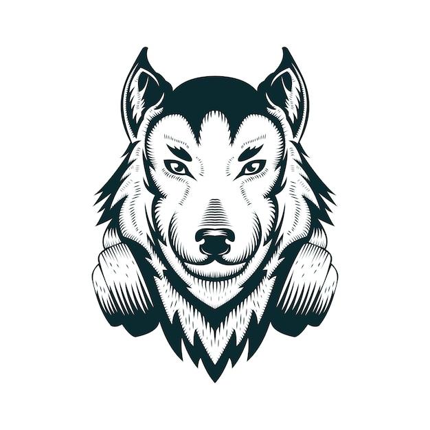 Ilustração de vetor de fone de ouvido de lobo Vetor Premium