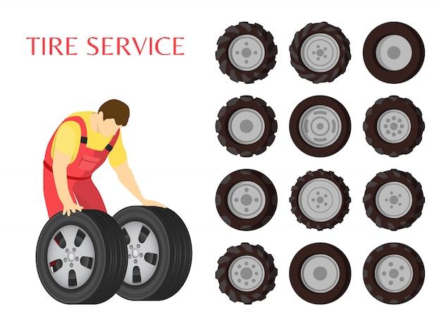 Ilustração de vetor de manutenção de carro de serviço de pneu Vetor Premium