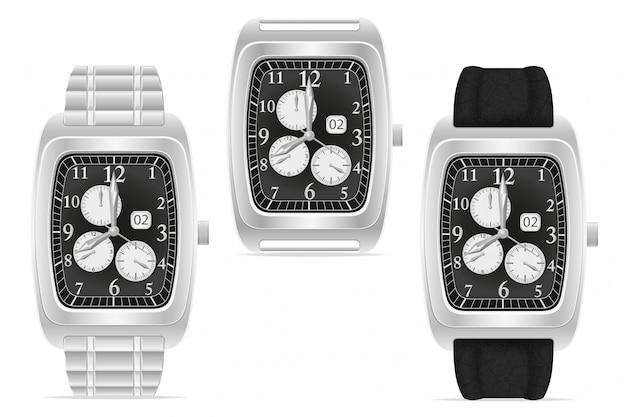 Ilustração de vetor de relógio de pulso mecânico prata Vetor Premium