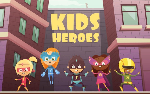 Ilustração de vetor de super-heróis crianças com equipe de personagens de desenhos animados em quadrinhos vestidos Vetor grátis