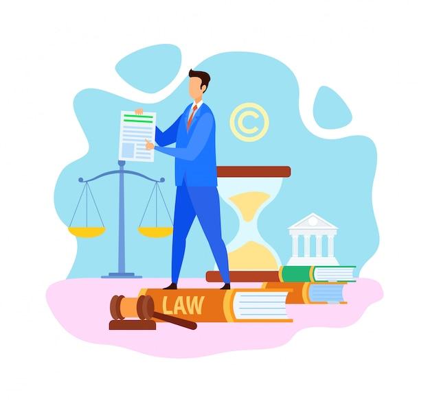 Ilustração de vetor plana de empresa de advogado comum Vetor Premium
