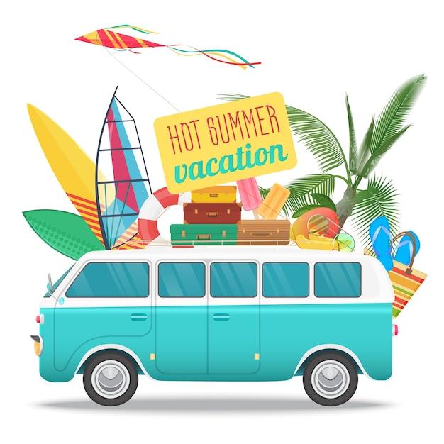 Ilustração de viagens de verão com ônibus vintage. logotipo do conceito de praia. turismo de verão, viagens, viagem e surf Vetor Premium
