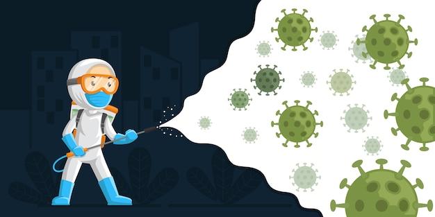 Ilustração de vírus de desinfecção Vetor Premium