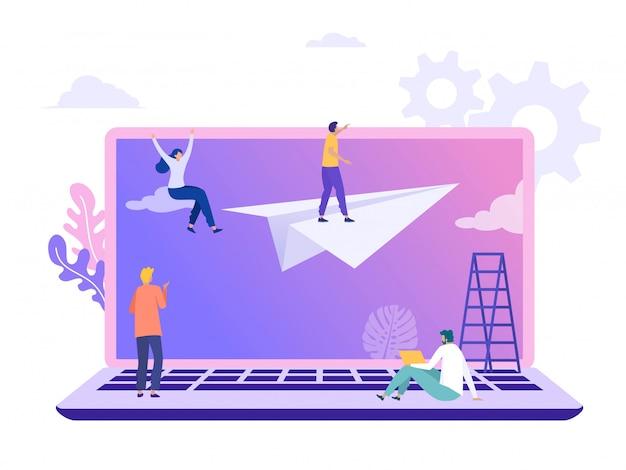 Ilustração de visão de negócios, personagem plana em pé no avião de papel com binóculo, pessoas atingindo objetivo Vetor Premium