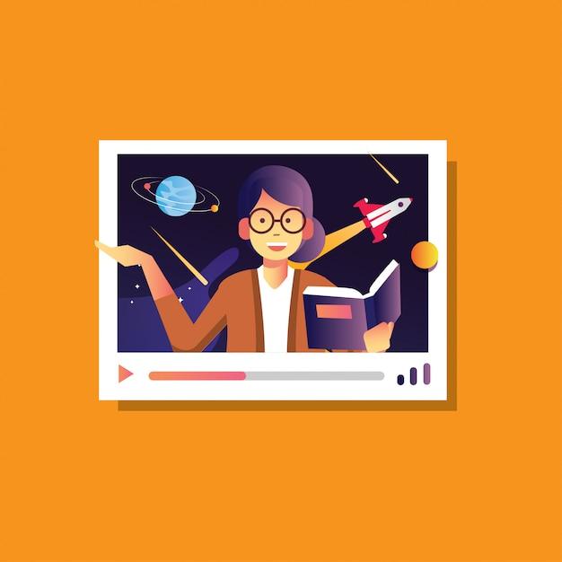 Ilustração de volta à escola feminina explicar galáxia astronomia, conferência on-line, educação on-line do curso Vetor Premium