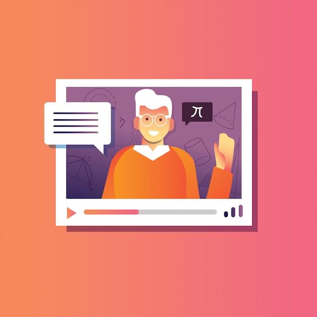 Ilustração de volta à escola masculina explicam webinar, conferência on-line, educação on-line Vetor Premium