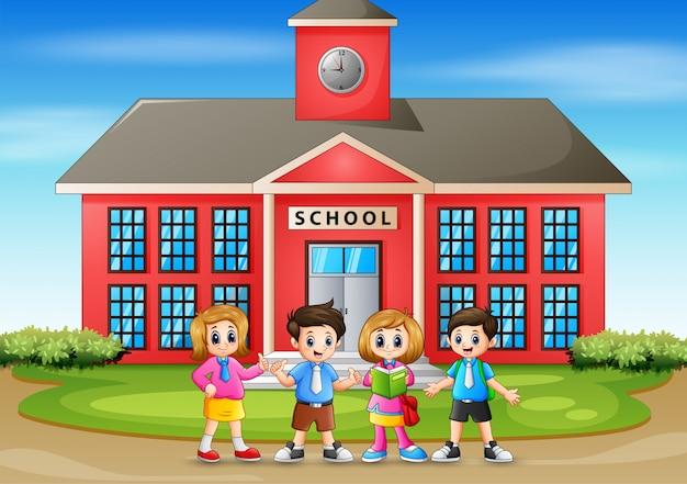 Ilustração de volta às crianças em idade escolar Vetor Premium