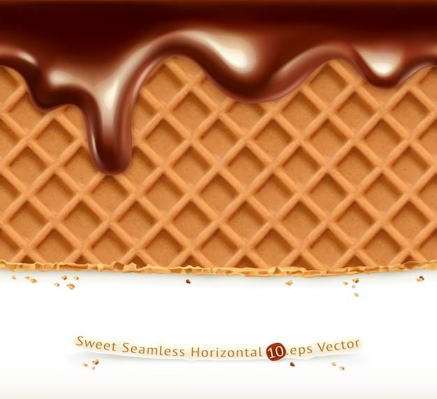 Ilustração de waffles e chocolate Vetor Premium
