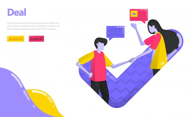 Ilustração deal or agreement. as pessoas apertam as mãos e aprovam decisões. pessoas que concordam e trabalham juntas nos negócios. Vetor Premium