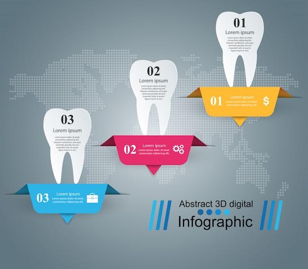 Ilustração dental do vetor do estilo do origâmi de infographics. Vetor Premium