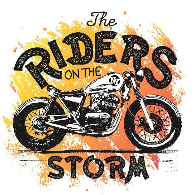 Ilustração desenhada à mão de motocicleta vintage Vetor Premium
