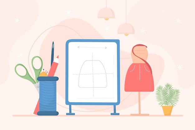 Ilustração desenhada à mão do designer de moda no local de trabalho Vetor grátis