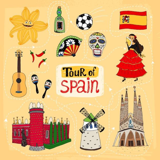 Ilustração desenhada à mão do tour pela espanha com pontos de referência famosos e tradições culturais Vetor grátis