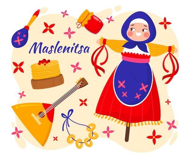 Ilustração desenhada à mão maslenitsa Vetor Premium