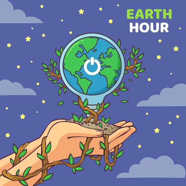 Ilustração desenhada à mão para a hora terrestre Vetor Premium