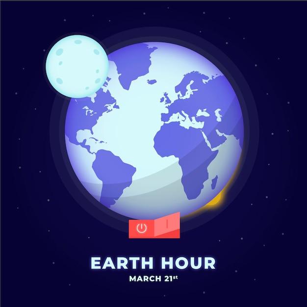 Ilustração desenhada à mão para a hora terrestre Vetor grátis