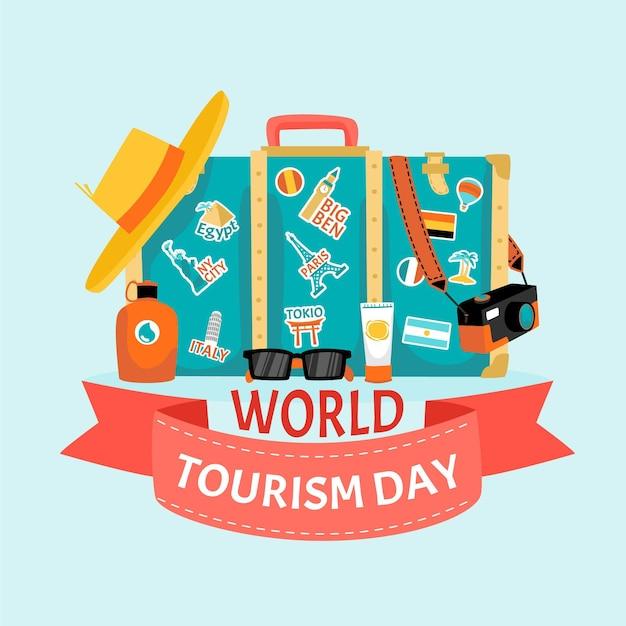 Ilustração desenhada à mão para o dia do turismo Vetor grátis