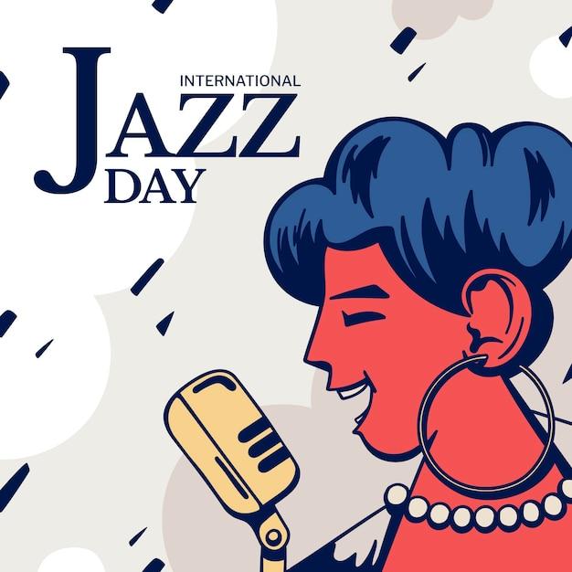 Ilustração desenhada à mão para o dia internacional do jazz Vetor grátis