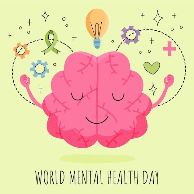 Ilustração desenhada à mão para o dia mundial da saúde mental Vetor grátis