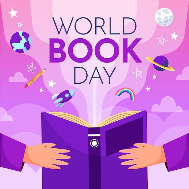 Ilustração desenhada à mão para o dia mundial do livro com pessoas segurando um livro Vetor grátis