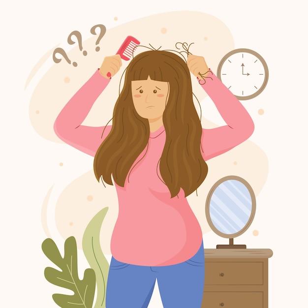Ilustração desenhada à mão plana sobre queda de cabelo Vetor grátis