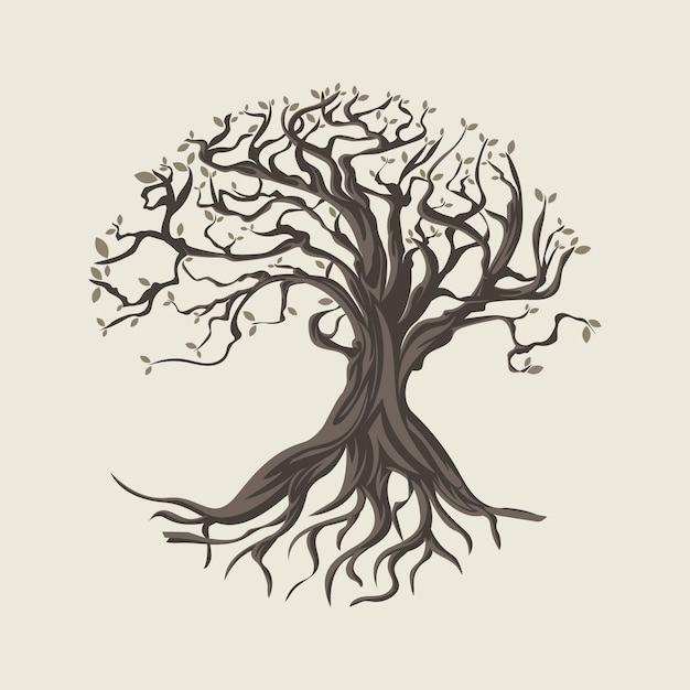 Ilustração desenhada à mão sobre a vida na árvore Vetor Premium
