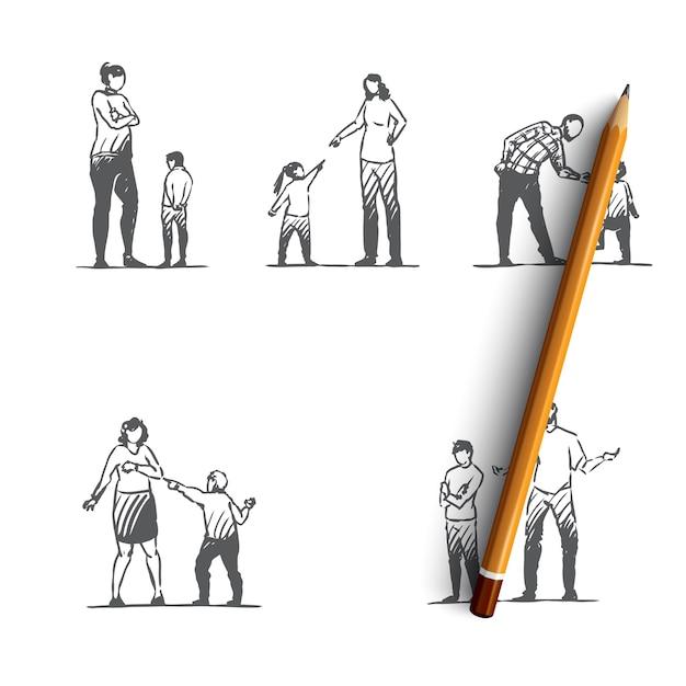 Ilustração desenhada mão de pessoas com raiva Vetor Premium