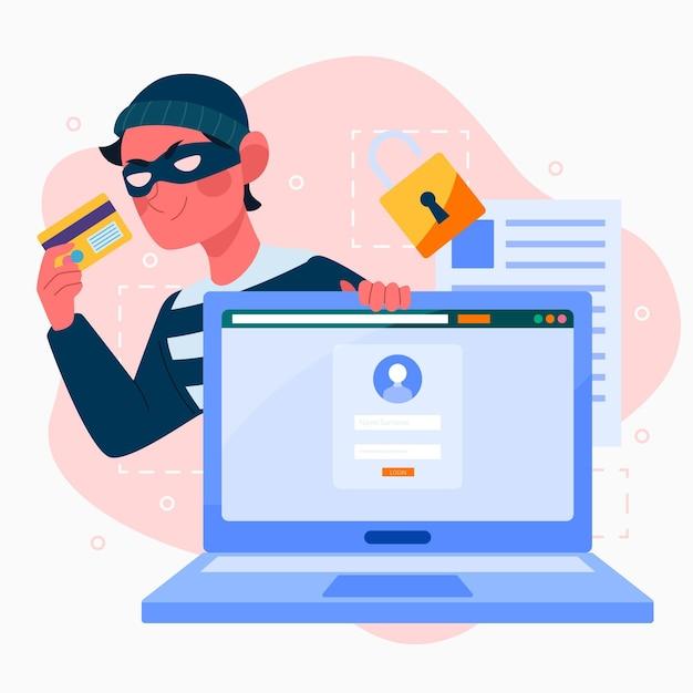 Ilustração design plano roubar dados Vetor grátis
