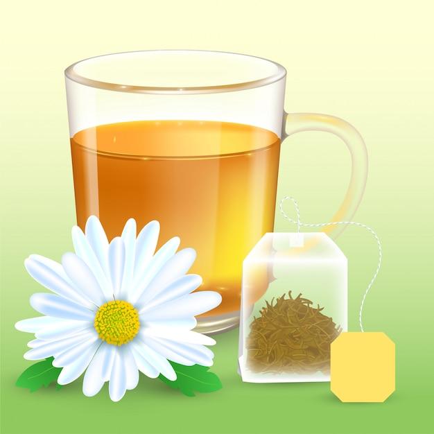 Ilustração detalhada alta de copo transparente com chá de camomila. flor de camomila realista. saquinho de chá retangular com etiqueta. Vetor Premium