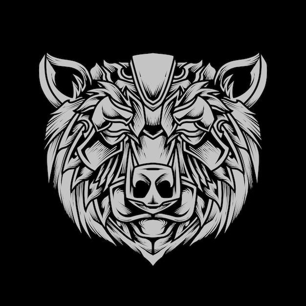 Ilustração detalhada da arte do bear head line Vetor Premium