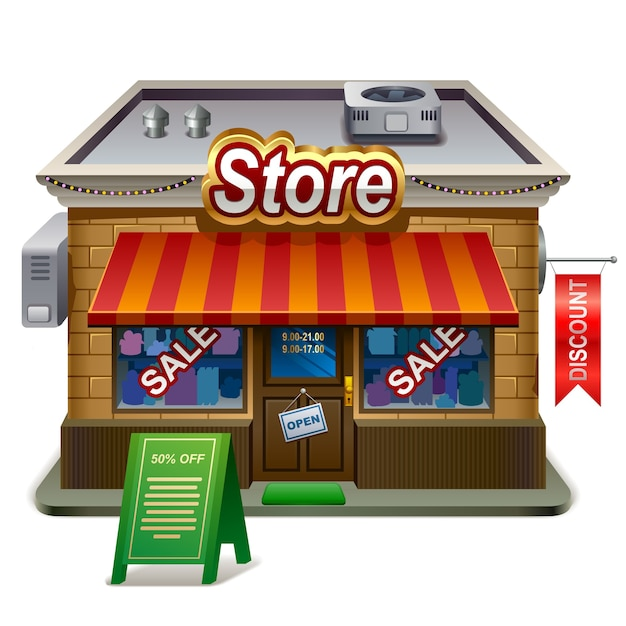 Ilustração detalhada da loja. ícone xxl Vetor Premium