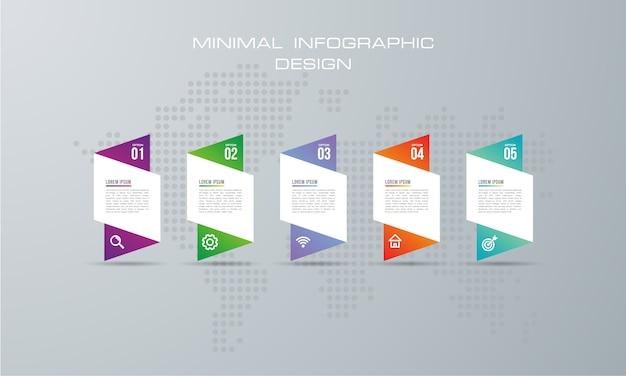Ilustração digital 3d abstrata infographic. usado para layout de fluxo de trabalho, diagrama, opções numéricas Vetor Premium