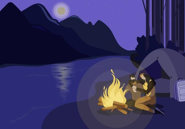 Ilustração do acampamento do river bank Vetor Premium