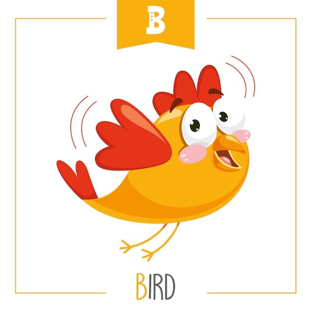 Ilustração do alfabeto letra b e pássaro Vetor Premium