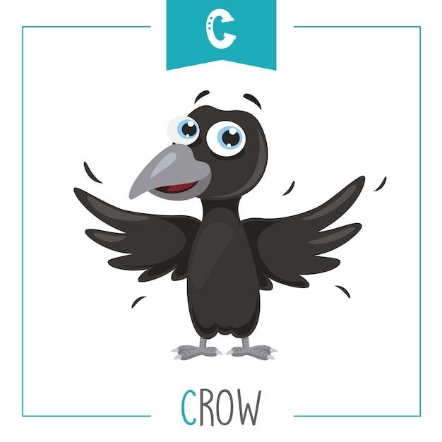 Ilustração do alfabeto letra c e corvo Vetor Premium