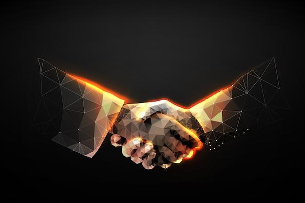 Ilustração do aperto de mão de duas mãos sob a forma de um céu estrelado ou espaço Vetor Premium