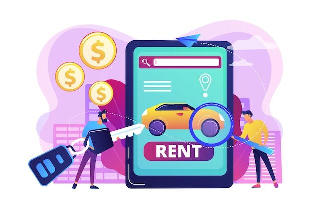 Ilustração do aplicativo de aluguel de transporte Vetor grátis
