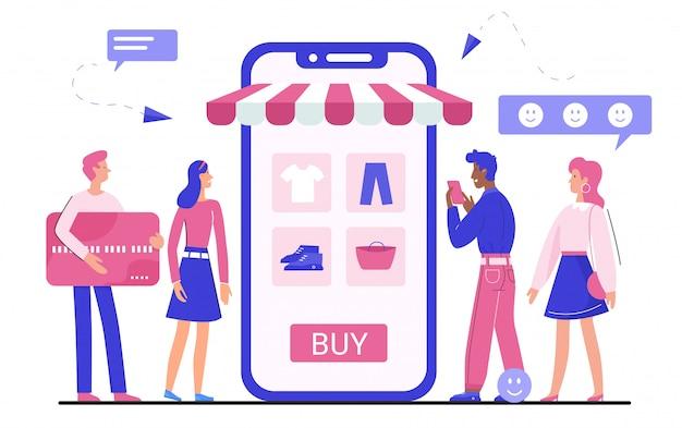 Ilustração do aplicativo de compras online, personagens de desenhos animados minúsculo homem mulher comprando roupas, acessórios em branco Vetor Premium