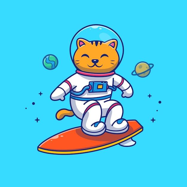 Ilustração do astronauta cat surfing on galaxy. personagem de desenho animado da mascote. Vetor Premium