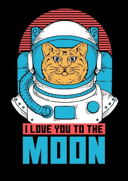 Ilustração do astronauta gato pronto para fazer a exploração espacial. Vetor Premium