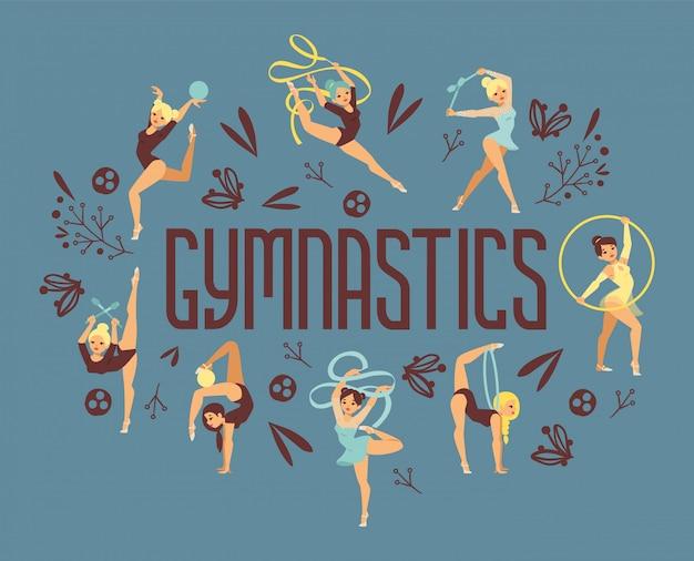 Ilustração do atleta do esporte do exercício da ginasta da moça. ginástica de força de desempenho de treinamento equilibra cartaz de pessoas. campeonato treino acrobata personagem bonita. Vetor Premium
