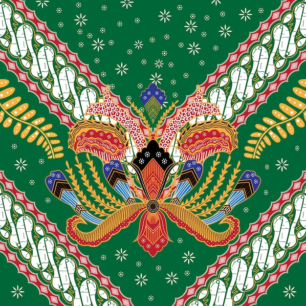 Ilustração do batik indonésio Vetor Premium